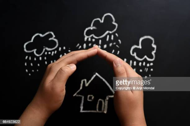 Home Insurance Concept On Blackboard Drawn with Chalk Pencil Child's Hand