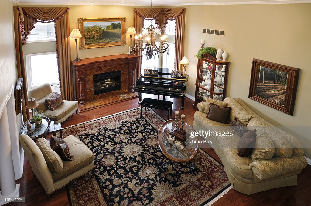 Home Interior: Formal Living Room, Piano, Persian Rug, Fire Place