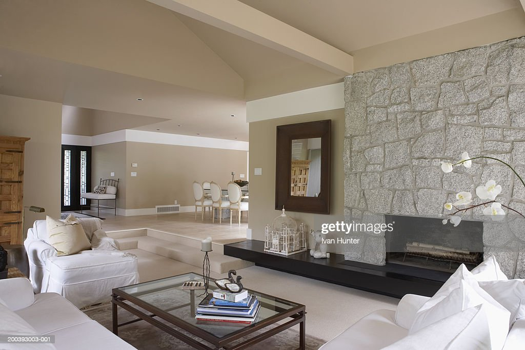 Home Interior Living Room And Fireplace Dining Stock Photo