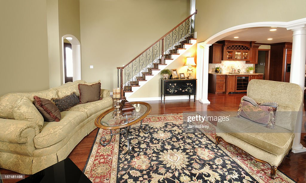 Home Interior Living Room, Persian Rug, Pillars, Staircase, Spacious, Open