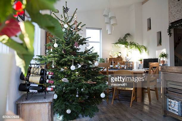 Home interior with Christmas tree