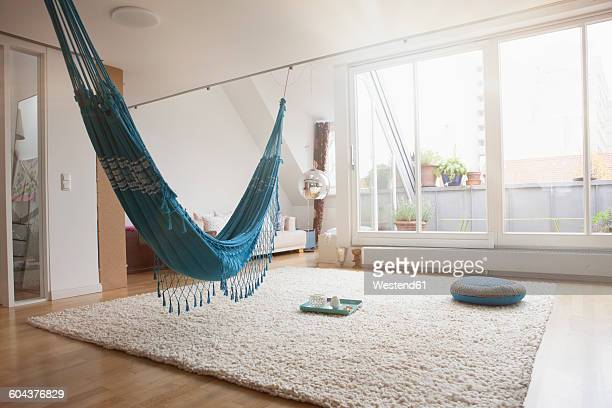 Home interior with hammock and carpet