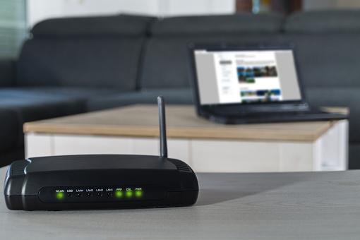 Home internet router on desk. 1178581690