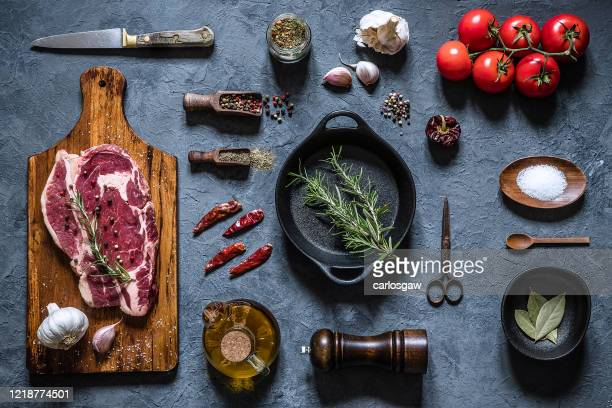 home inventory: cooking a fresh beef steak - cooking pan stock pictures, royalty-free photos & images