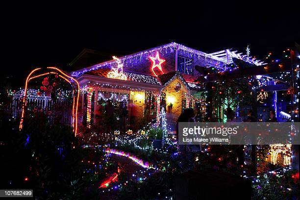 A home is decorated with Christmas lights and illuminations in Matraville on December 17 2010 in Sydney Australia The struggling economic climate of...