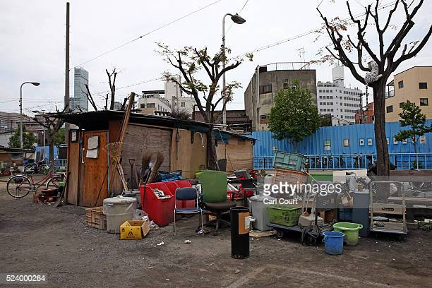 A home is pictured in the slum area of Kamagasaki on April 23 2016 in Osaka Japan Kamagasaki a district in Japan's second largest city Osaka is home...