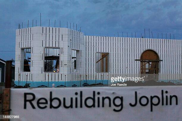 Home is seen under construction as the town rebuilds from the catastrophic tornado that hit almost one year ago on May 19, 2012 in Joplin, Missouri....