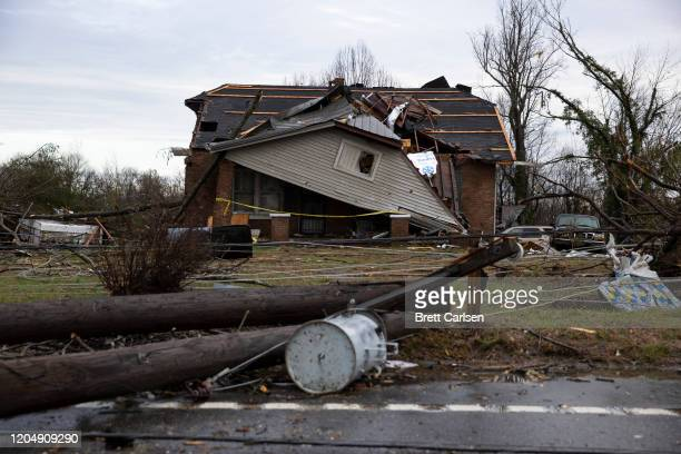 Home is shown destroyed by high winds from one of several tornadoes that tore through the state overnight on March 3, 2020 in Cookeville, Tennessee....