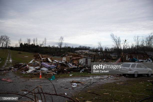 A home is shown destroyed by high winds from one of several tornadoes that tore through the state overnight on March 3 2020 in Cookeville Tennessee...