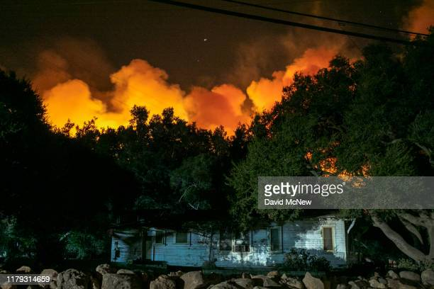 A home is threatened by the Maria Fire as it explodes to 8000 acres on its first night on November 1 2019 near Somis California Southern California...