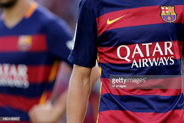 home kit shirt FC Barcelona Qatar Airways during the Primera Division match between FC Barcelona and Las Palmas on September 26 2015 at Camp Nou...