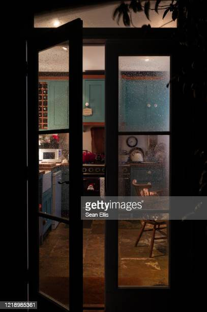 home kitchen on a winter night - esher stock pictures, royalty-free photos & images
