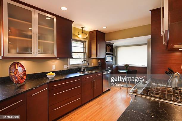 Home Kitchen with Wood Cabinet, Marble Counter in Modern Design