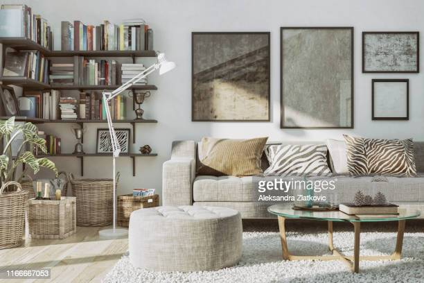 home library and cozy sofa - home showcase interior stock pictures, royalty-free photos & images