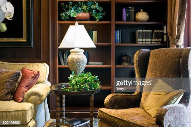 home library-office in an estate home - book shelf stock photos and pictures