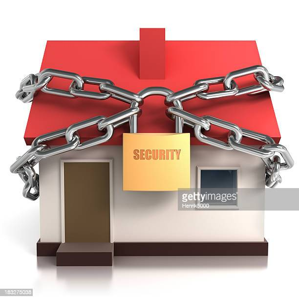 Home locked in chains, isolated with clipping path