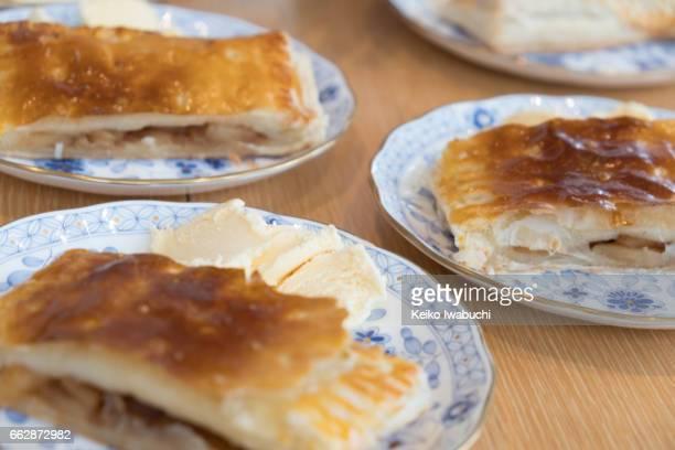 Home made apple pies with vanilla ice cream