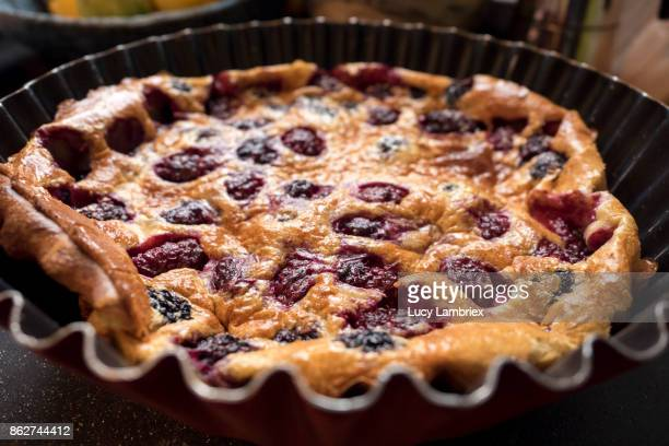 home made blackberry clafoutis - hauts de france stock photos and pictures