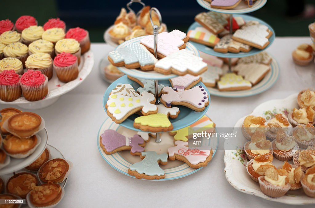 Home made cakes stand on display at a Te : News Photo