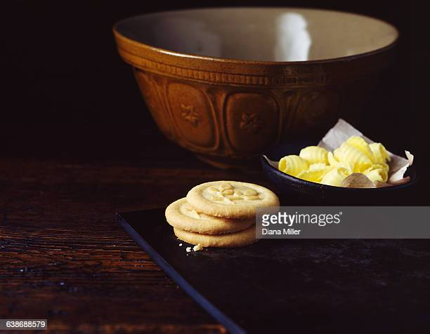 Home made cookies with butter and mixing bowl