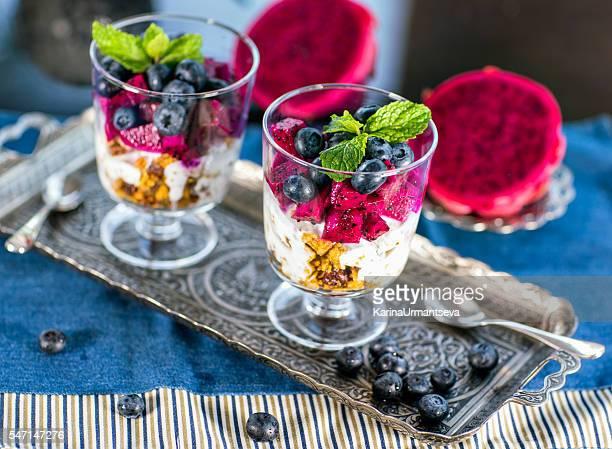Home made granola with  yogurt and fruits