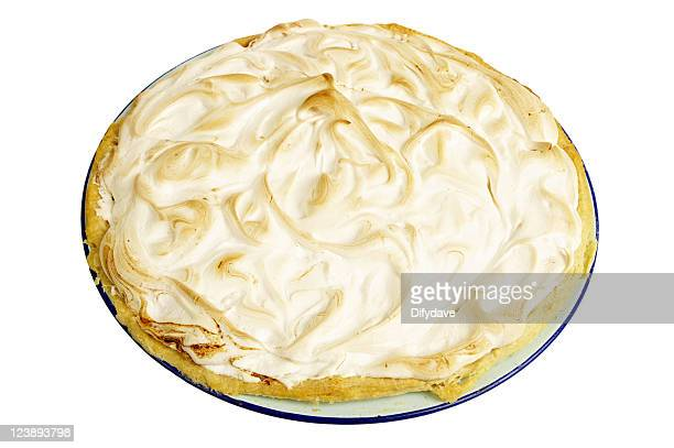 home made lemon meringue pie isolated on white - meringue stock pictures, royalty-free photos & images