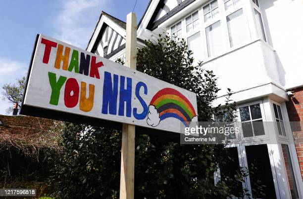 Home made sign outside a house saying thank you NHS on April 08, 2020 in Aylesbury, England . There have been around 50,000 reported cases of the...