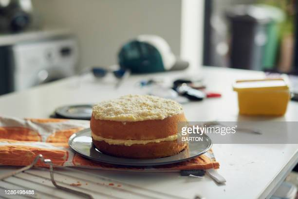 home made sponge cake in kitchen - unhealthy eating stock pictures, royalty-free photos & images