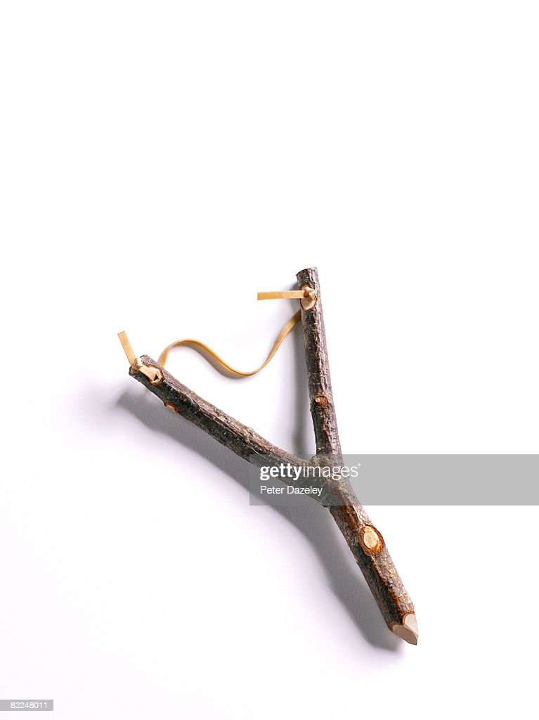 Home made wooden Catapult on white background : Stock Photo