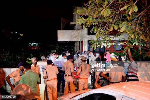 Home Minister of the South Indian state of Karnataka Ramalinga Reddy along with senior police officials visits the house of 55yearold Gauri Lankesh...