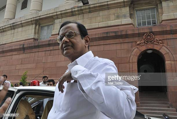 Home Minister P Chidambaram at Parliament house in New Delhi on November 15 2010