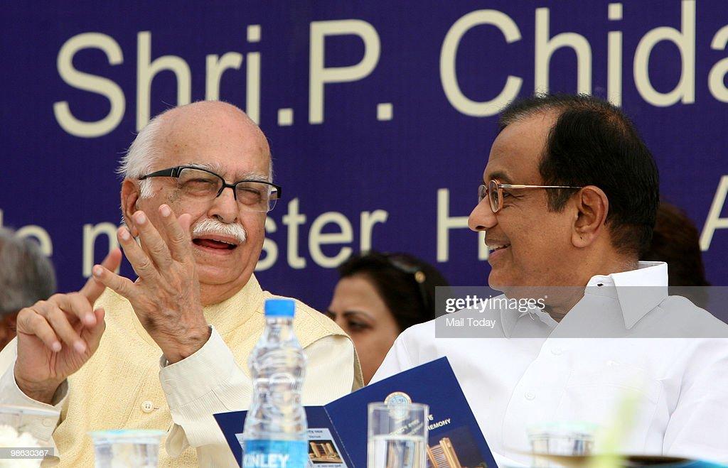 Home minister P Chidambaram with senior BJP leader LK Advani at the inauguration of the Shyama Prasad Mukherjee Civic Centre in New Delhi on April 22, 2010.
