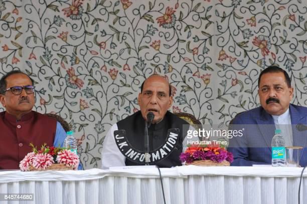 Home Minister Rajnath Singh along with Deputy Chief Minister Nirmal Singh and Minister of State for Prime Minister Office Jitendra Singh addresses a...