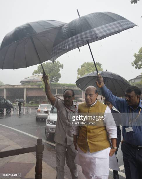 Home Minister Rajnath Singh arrives for third day of Monsoon Session of Parliament on July 20 2018 in New Delhi India A debate is under way on the...