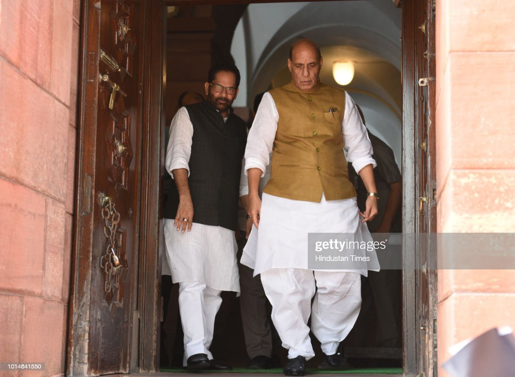 Home Minister Rajnath Singh with Union Minister Mukhtar Abbas Naqavi at Parliament House, on August 10, 2018 in New Delhi, India.
