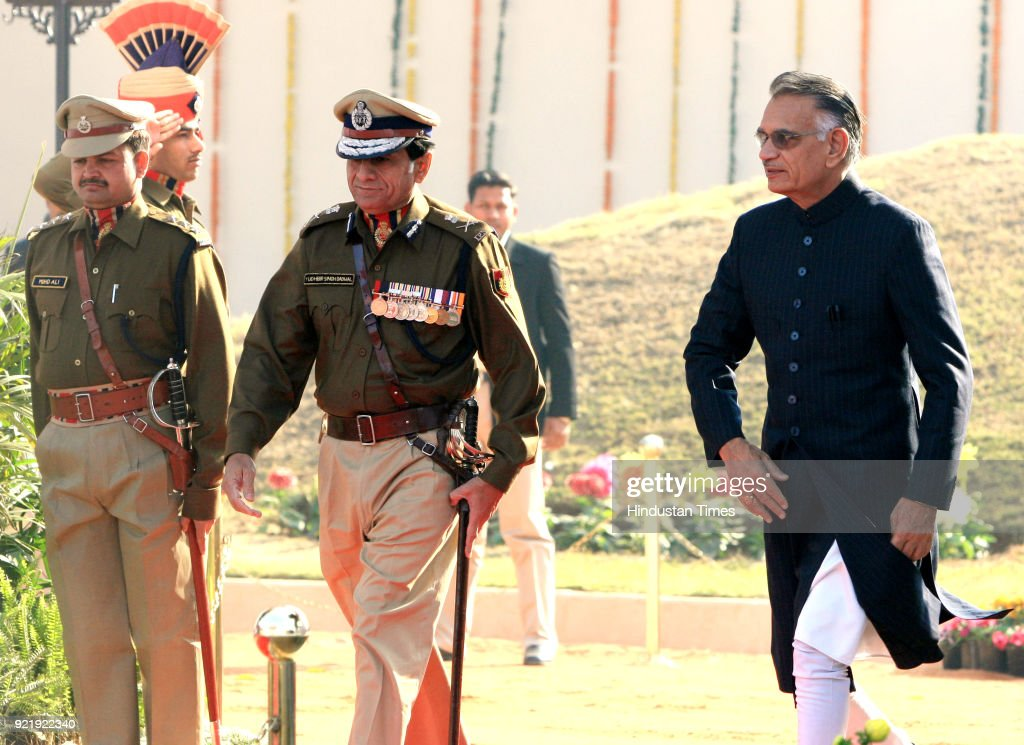 Home Minister Shivraj Patil along with Delhi Police Commissioner Y S Dadwal during the 61st Delhi Police Raising Day Parade at Police ground in New Delhi.