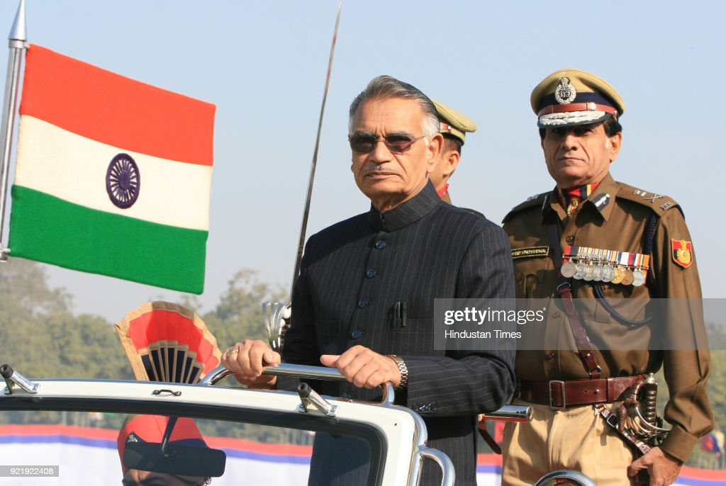 Home Minister Shivraj Patil along with Delhi Police Commissioner Y S Dadwal recieving guard of honour during the 61st Delhi Police Raising Day Parade at Police ground in New Delhi.