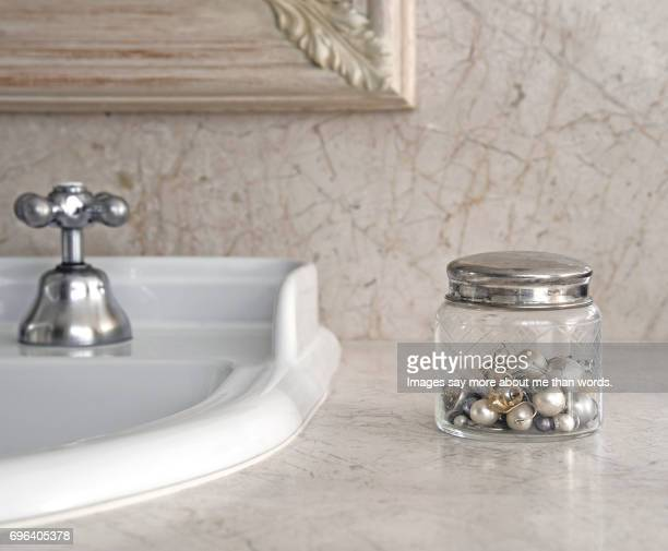home moments - old crystal box for jewels on marble top - still life. - vanity mirror stock pictures, royalty-free photos & images
