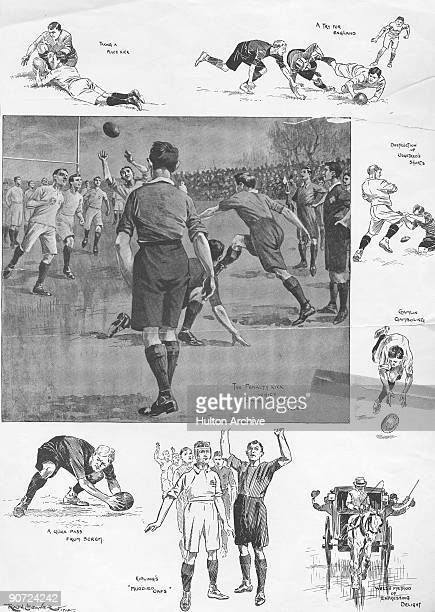 A Home Nations rugby international match between England and Wales at Rectory Field Blackheath London 11th January 1902 Wales beat England by nine...