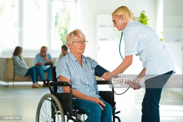 home nurse checking the blood pressure of the elderly lady - izusek imagens e fotografias de stock