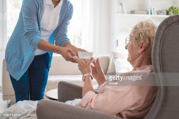 home nurse taking care of eldery lady - healthcare worker stock pictures, royalty-free photos & images
