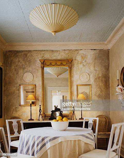 home of frank faulkner: painted tiled ceiling and distressed walls in dining room - fernando bengoechea stock pictures, royalty-free photos & images