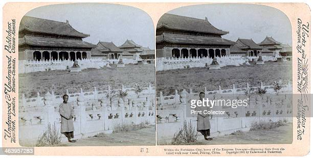 Home of the Empress Dowager Peking China 1901 Harmony Gate from elevated walk near the canal Within the Forbidden City Stereoscopic slide