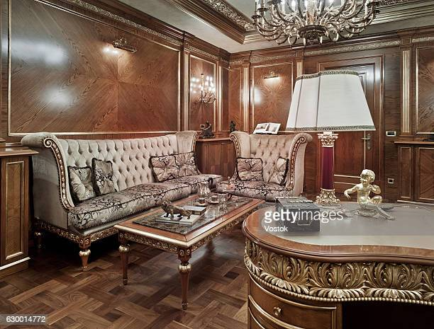 home office in a luxury private house - vehicle interior stock pictures, royalty-free photos & images