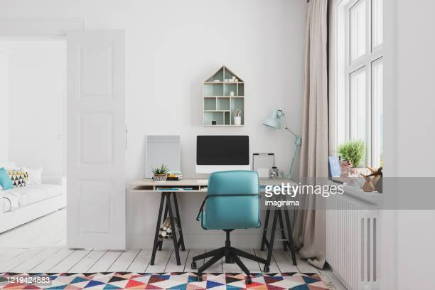 home office interior - desk stock pictures, royalty-free photos & images
