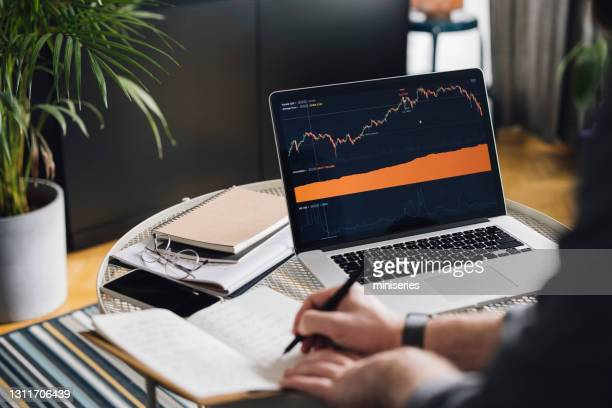 home office: man analyzing statistics on laptop screen - economist stock pictures, royalty-free photos & images
