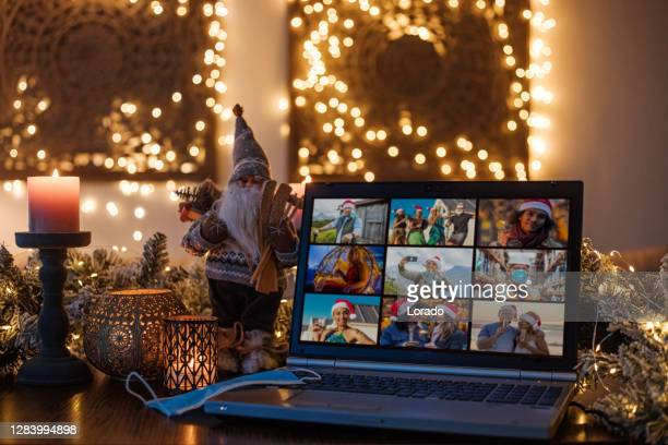 home office set up for webinar and teleconference at xmas - live streaming stock pictures, royalty-free photos & images