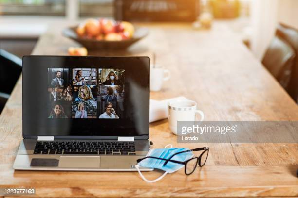 home office set up for webinar and teleconference - live broadcast stock pictures, royalty-free photos & images