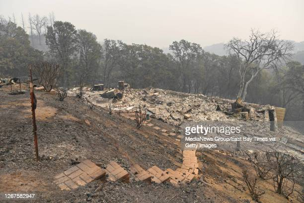 Home on Millie May Lane is destroyed by a fire in Vacaville, Calif., on Thursday, Aug. 20, 2020. The LNU Lightning Complex fires began in Napa and...