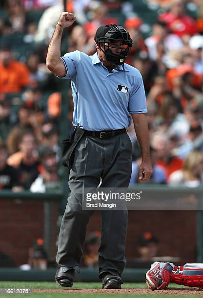 Home plate umpire Angel Hernandez calls a strike during a game between the St Louis Cardinals and San Francisco Giants on Saturday April 6 2013 at...